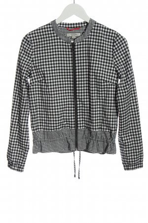Comma Short Jacket white-black check pattern casual look