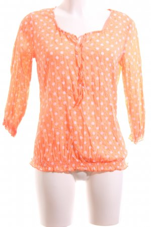 Comma Langarm-Bluse hellorange-pink Punktemuster Casual-Look