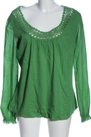 Comma Langarm-Bluse grün Casual-Look
