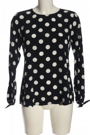 Comma Langarm-Bluse schwarz-weiß Punktemuster Casual-Look