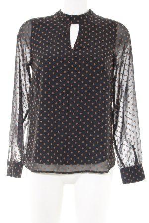 Comma Langarm-Bluse khaki-hellorange Allover-Druck Business-Look