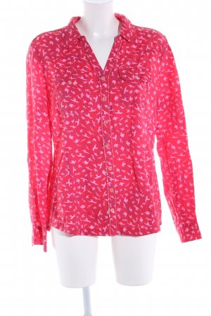 Comma Langarm-Bluse rot-pink Allover-Druck Casual-Look