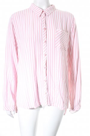 Comma Langarm-Bluse rosa-weiß Streifenmuster Casual-Look