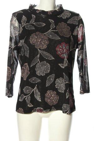 Comma Camicetta a maniche lunghe nero-grigio chiaro motivo floreale elegante