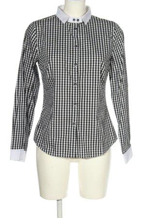 Comma Langarmhemd schwarz-weiß Karomuster Business-Look