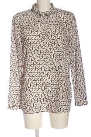 Comma Camisa de manga larga crema-negro estampado con diseño abstracto