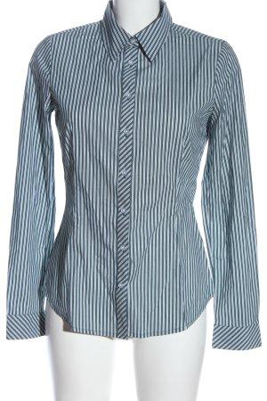 Comma Langarmhemd weiß-blau Streifenmuster Casual-Look