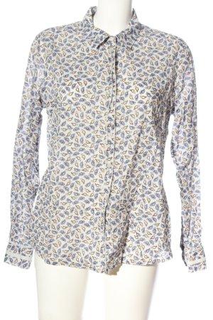Comma Langarmhemd blau-wollweiß abstraktes Muster Casual-Look