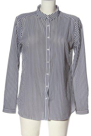 Comma Langarmhemd weiß-schwarz Streifenmuster Business-Look