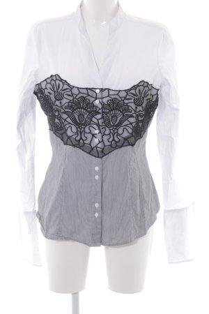 Comma Langarmhemd schwarz-weiß Streifenmuster Elegant