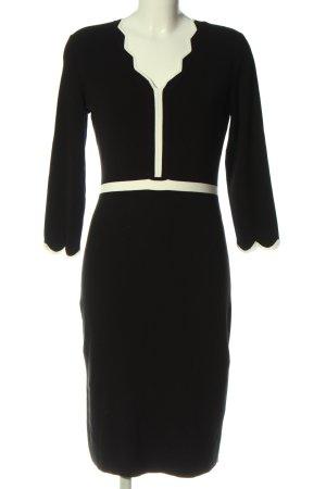 Comma Vestido de manga larga negro-blanco puro elegante
