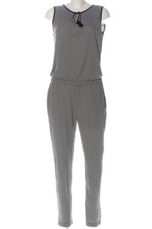 Comma Langer Jumpsuit noir-blanc imprimé allover élégant
