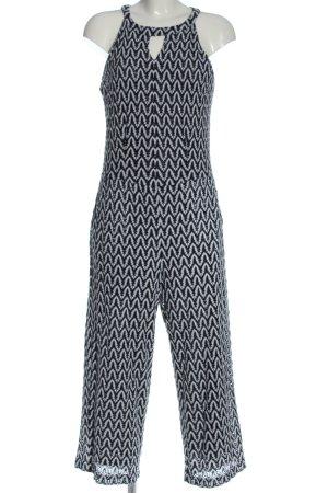 Comma Langer Jumpsuit schwarz-weiß Allover-Druck Elegant