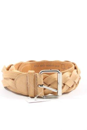 Comma Cinturón de cuero blanco puro punto trenzado look casual