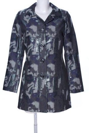 Comma Long-Blazer schwarz-blau abstraktes Muster Casual-Look