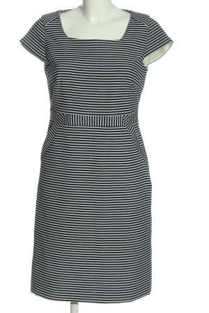 Comma Etuikleid weiß-schwarz Streifenmuster Casual-Look