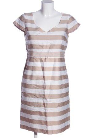Comma Minikleid bronzefarben-weiß Streifenmuster Casual-Look