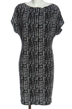 Comma Kurzarmkleid hellgrau-schwarz abstraktes Muster Casual-Look