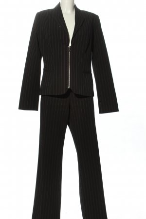Comma Pinstripe Suit black-white striped pattern casual look