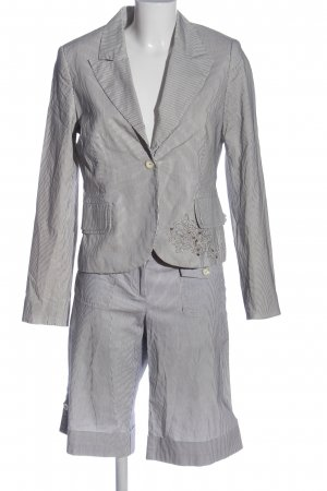Comma Pinstripe Suit white-black striped pattern casual look