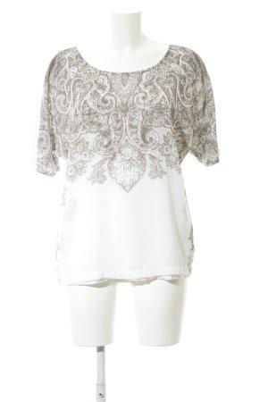 Comma Oversized Shirt weiß-hellgrau abstraktes Muster Casual-Look