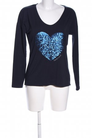 Comma Oversized Shirt blau Motivdruck Casual-Look