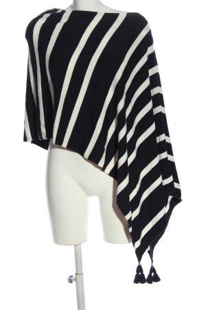 Comma Poncho nero-bianco motivo a righe stile casual