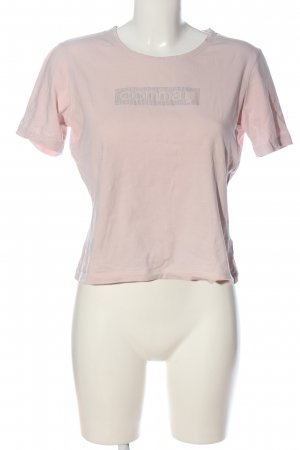 Comma Print-Shirt pink-silberfarben Schriftzug gedruckt Casual-Look
