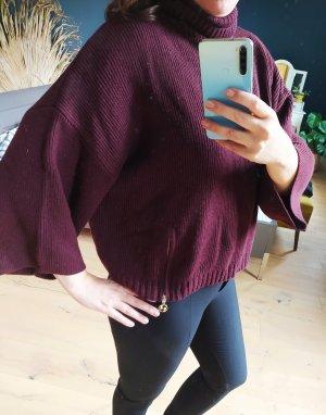 Comma Poncho en tricot doré-bordeau