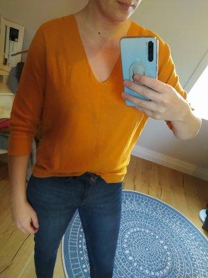 Comma Pulli V-Neck Feinstrick Orange