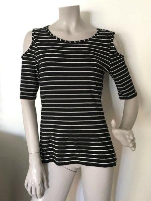 Comma Stripe Shirt black-white viscose