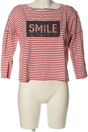 Comma Koszulka w paski biały-czerwony Nadruk z motywem W stylu casual