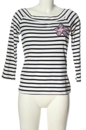 Comma Stripe Shirt flower pattern elegant
