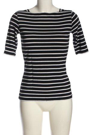 Comma T-shirt rayé noir-blanc motif rayé style décontracté
