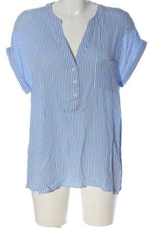 Comma T-shirt rayé blanc-bleu imprimé allover élégant