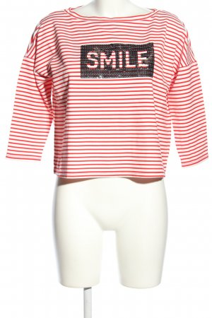 Comma Ringelshirt rot-weiß Streifenmuster Casual-Look