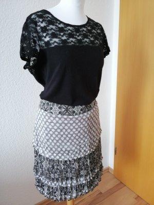 Comma Broomstick Skirt white-black