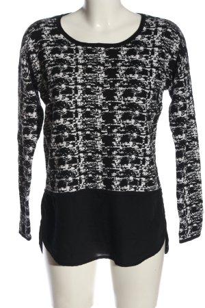 Comma Rundhalspullover schwarz-weiß abstraktes Muster extravaganter Stil