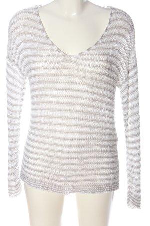 Comma Fine Knit Jumper white-light grey weave pattern casual look