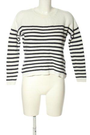 Comma Rundhalspullover weiß-schwarz Streifenmuster Casual-Look