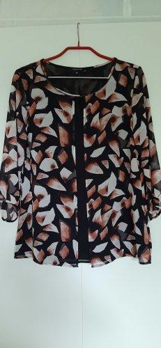 Comma schicke Layer-Bluse schwarz rosé rostrot dreiviertel-Arm Gr. 36