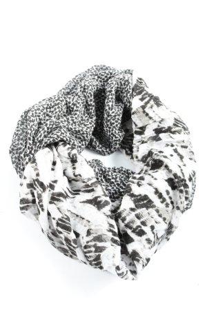Comma Bufanda tubo negro-blanco puro estampado repetido sobre toda la superficie