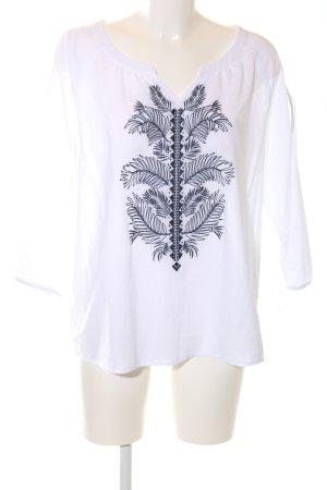 Comma Schlupf-Bluse weiß Blumenmuster Casual-Look