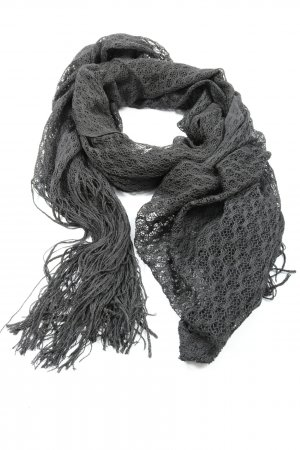 Comma Bufanda de seda gris claro Patrón de tejido look casual