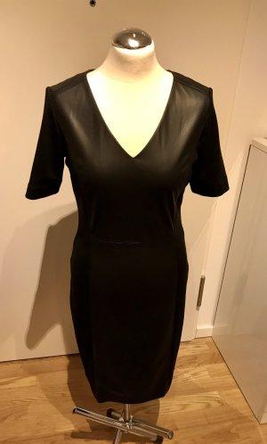 Comma Vestido de cuero negro