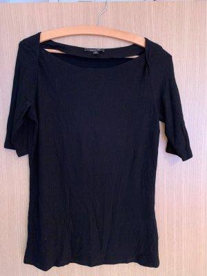 Comma Prążkowana koszulka czarny
