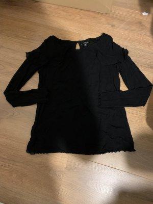 Comma Shirt Bluse schwarz 38 langarm Volants Rüschen