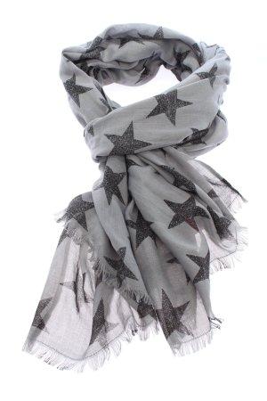 Comma Sommerschal hellgrau-schwarz abstraktes Muster Casual-Look