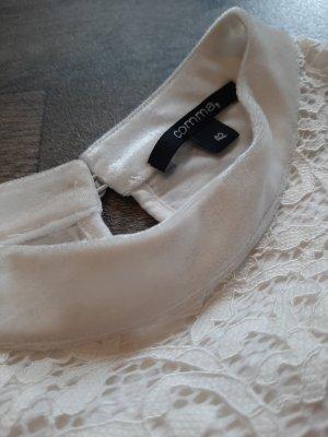 Comma Spitzen Bluse mit Samtkragen, weiß, festlich