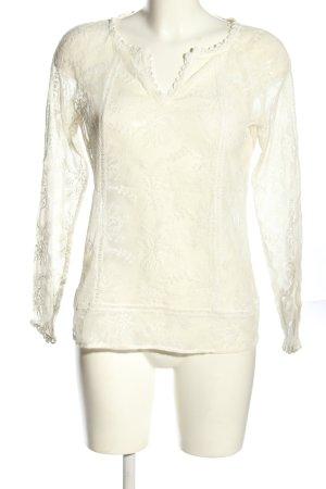 Comma Koronkowa bluzka w kolorze białej wełny Abstrakcyjny wzór